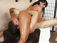 Hor busty brunette with big ass doing 69 and blowjob with a big horny guy and gagging