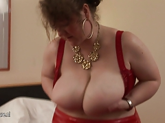 Big titted german housewife playing with her toys