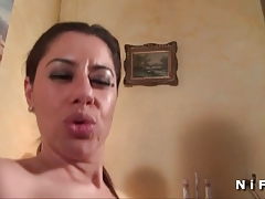 French arab milf in stockings gets banged
