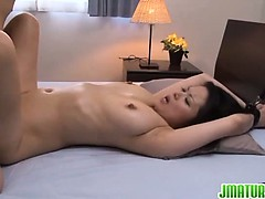 Miki Sato endures toy insertion with joy