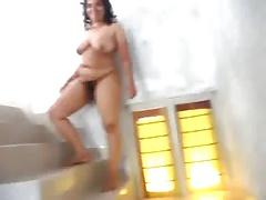 Brazilian Hairry BBW Show Your Body in Stairs - negrofloripa