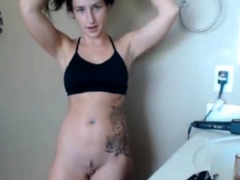Naughty coed spanks her perky butt in the chatroom