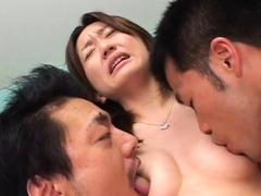 Biggest toy digging through this japanese babe's moist twat