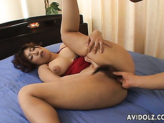 Bushy pussy of Naho Hazuki licked and fingered in her bushy pussy
