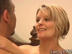 Michael and Kimberly fuck blonde hotties in swingers reality