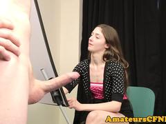 Young artist sucking hard cock in cfnm action