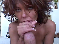 Sexy brunette milf sucks a fat cock and takes a ride on it