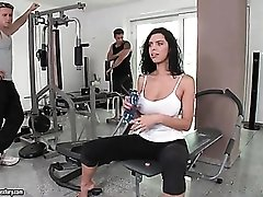 Guys suck big tits of Elena Rae in the gym