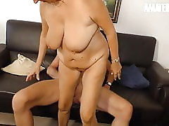 AMATEUR EURO -German Granny Hard Fucked By Mature Guy On Cam
