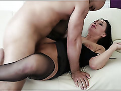 Fantastic steamy sex with nicely shaped beauty in black stuff Eva Ann