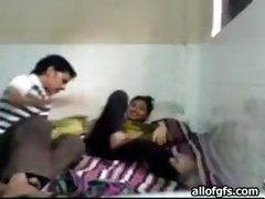 Cute Indian teen strips and fucks in a missionary position