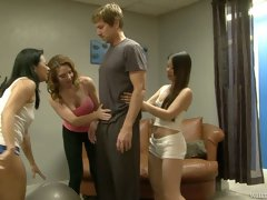 Kiki Daire and her nasty girlfriends fuck one kinky dude with the help of strapon