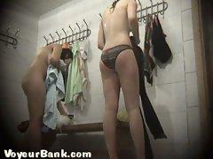 Slender white teen in the locker room filmed all naked on cam