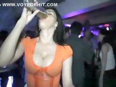 Drunk girl with hot cleavage