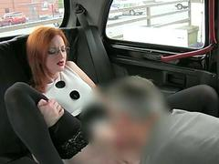 Big tits customer fucked in the backseat