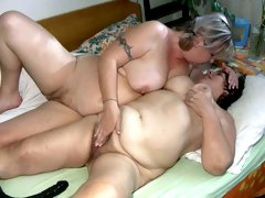 Two busty fat grannies get wild fucking in FFM threesome