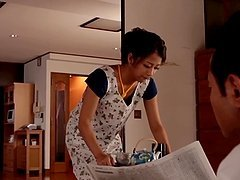 Satomi Suzuki the hot Japanese housewife gets toyed in a kitchen