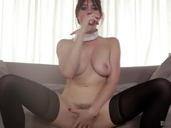 Samantha is busty maid and her boss wants her to fuck immediately