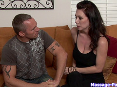 Blonde masseuse massages his cock and makes him pop