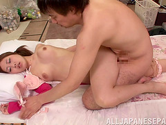 Obedient Asian maid cleans, feeds him then fucks him