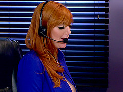Beautiful redhead office worker getting the doggy style treatment