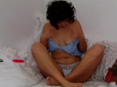 Hairy Babe Films Herself Vibing Her Creamy Pussy to Orgasm