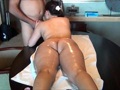 Voluptuous brunette gets massaged and drilled doggystyle