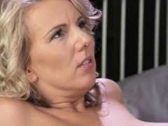 Natural busty blonde mature fucks till creampie