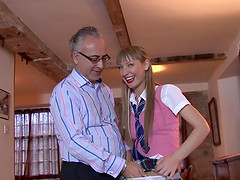 She finds an old man's cock to play