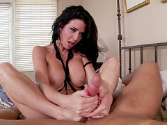 Stunning Veronica Avluv rides a dick and gives a footjob