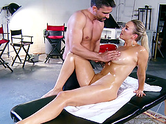 Abbey Brooks gets an oil massage before being fucked