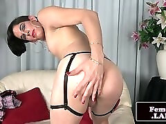Cute ts chick tugging on her dick