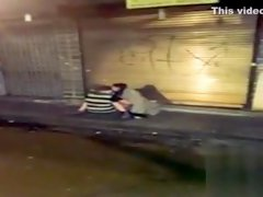 Drunk girl enjoys being hammered on the street