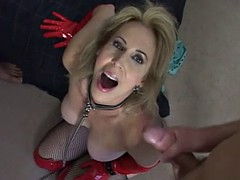 sexy american mature slut in red thigh boots fucked by 2 guys