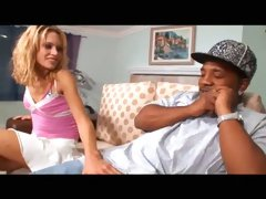 Sassy blonde bitch with tiny boobs fucks a black guy with huge cock