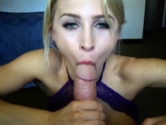 Adorable Alix Lynx sucks the cum out of a big cock