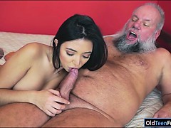 Mexican Frida Sante enjoys to suck and ride on an old cock