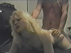 Brilliant blonde in thong gets her pussy thrilled doggystyle in a cute bed sex