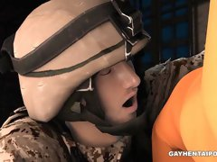 3D cartoon prisoner getting his tight asshole fucked by a soldier