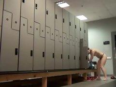 Plump babe on a locker hidden camera