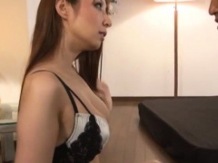 Slender Japanese babe gets her hairy slit tongued and fucked