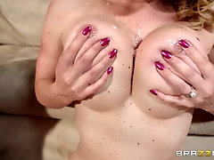 Mature blonde whore Krissy Lynn plays with cum on her big tits