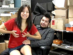 Busty brunette sucks and fucks her boss in the storage room at work