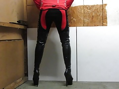 My pleaser 7 inch platform thigh boots and cycle gear