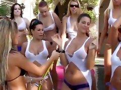 Tits and asses at a hot bikini party