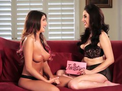 Super sexy babes August Ames and Jelena Jensen brag of their big boobies