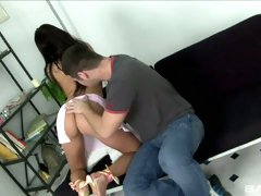 Beautiful tanned brunette Sandra gets her pussy banged hard