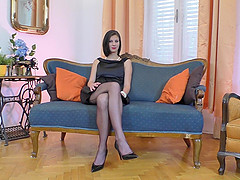 Mimi lifts up her fancy black dress to tease a pussy craving fellow