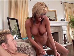 Sophia enjoys cum on her boobs after crazy multiposition sex