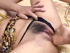 Saki ogasawara sucks tool while driving another with hairy co
